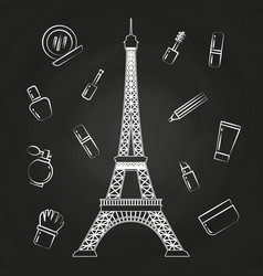 Paris eiffel tower and beauty cosmetics vector