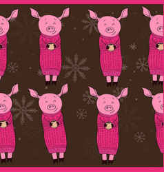 pig with gifts cocoa vector image