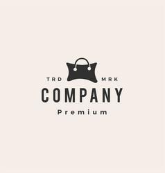 pillow store shopping bag hipster vintage logo vector image