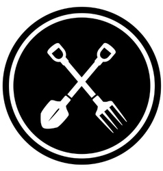 Pitchfork and shovel gardening icon vector