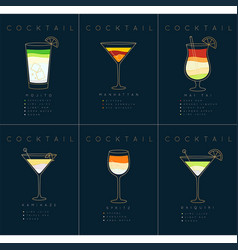 Poster cocktails mojito dark blue vector