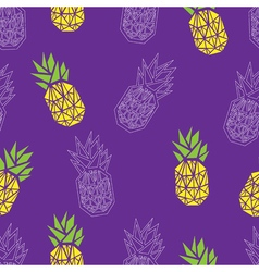 Purple and yellow pineapple textile print seamless vector image