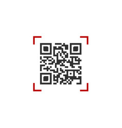 Qr code in red scanning frame isolated on white vector