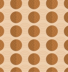 Retro fold brown circles on bulging waves vector