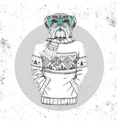 Retro hipster animal bulldog dressed in pullover vector