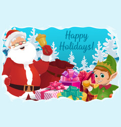 santa claus with christmas bell gifts and elf vector image