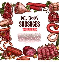sausage beef and pork meat delicatessen banner vector image
