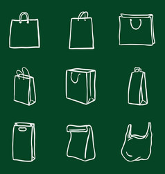 set chalk doodle shopping bags icons vector image