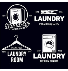 set laundry logos emblems and design vector image