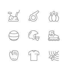 set line icons sport equipment vector image