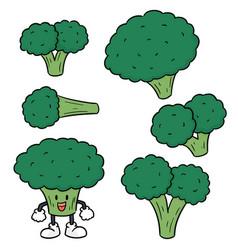 set of broccoli vector image