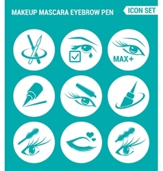 set of round icons white Makeup mascara eyebrow vector image