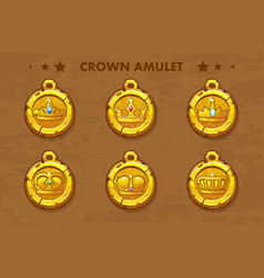 set old amulets with crown vector image