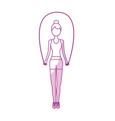 silhouette woman jumping to do exercise vector image