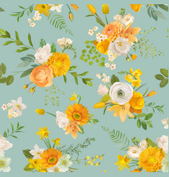spring yellow flowers watercolor pattern seamless vector image