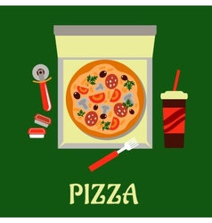 Takeaway pizza and soda drink vector