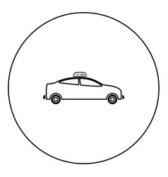 taxi black icon in circle outline vector image