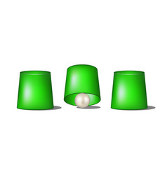 Thimblerig with green cups and ball vector
