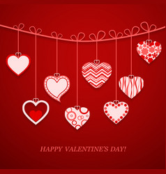 Valentine day hanging heart vector image vector image