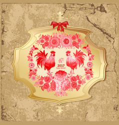 Vintage golden label with lovely red cockerels vector