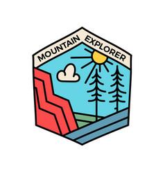Vintage mountain explorer logo adventure line art vector