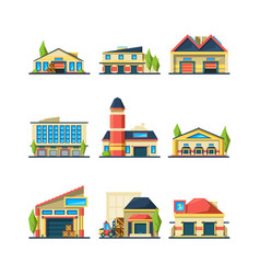 warehouse flat facade buildings store vector image