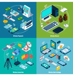 Wireless technologies isometric set vector