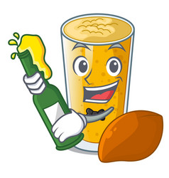 With beer lassi mango in the character fridge vector