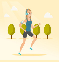 Young woman running with earphones and smartphone vector