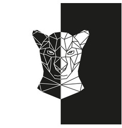 black and white panther head geometric vector image vector image