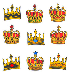 Collection red crown style doodles vector