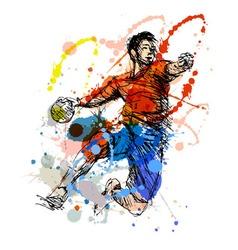 Colored hand sketch handball player vector image vector image