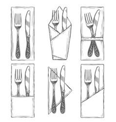 cutlery on napkins set sketch vector image vector image