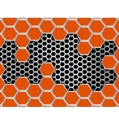 Geometric pattern of hexagons metal background vector image vector image