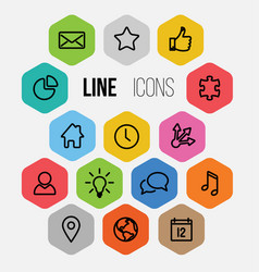 modern hexagonal thin line icon collection vector image