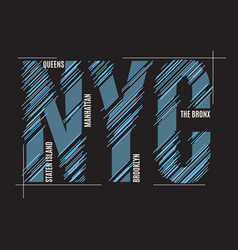 new york tee print t-shirt design graphics stamp vector image vector image