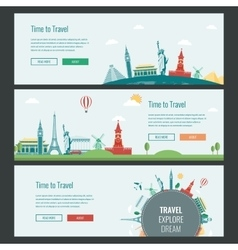 Travel and Tourism Headers Banners with famous vector image