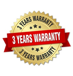 3 years warranty 3d gold badge with red ribbon vector image