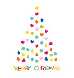 colorful heart shape design christmas tree vector image