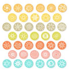doodle white suns icons set vector image
