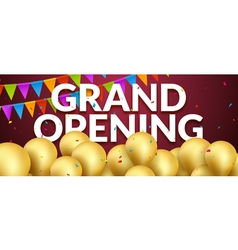 Grand Opening event invitation banner with golden vector image