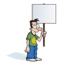 Happy man with protest sign vector image vector image