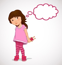 Little girl dreaming about holiday gifts vector image