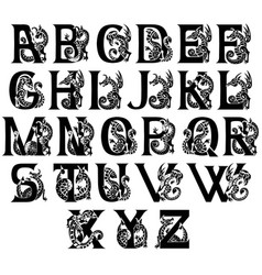 medieval alphabet with gargoyls and chimeras vector image