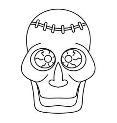 trepanation skull of zombie icon outline style vector image