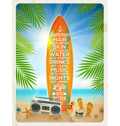 Vintage surfboard with summer saying and vector