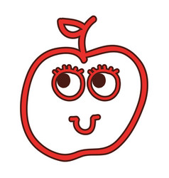 apple fruit kawaii character vector image