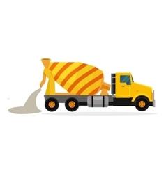 Concrete Mixing Truck in Flat Design vector image vector image