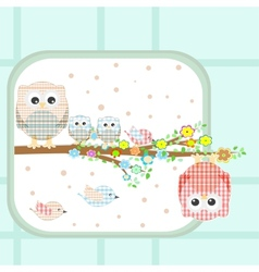 couple of cute owls and birds sitting on branch vector image vector image