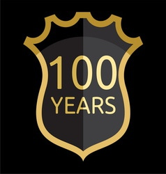 Golden shield 100 years vector image vector image